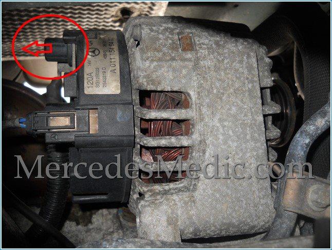 how to replace alternator on a mercedes benz e c clk slk s class rh mercedesmedic com Two Wire Alternator Wiring Diagram 5 Wire Alternator Wiring Diagram