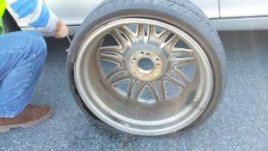 damaged flat mercedes tire